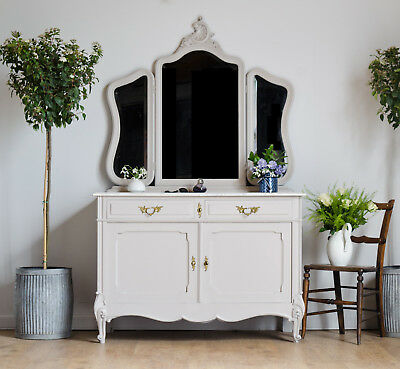 French Antique Dressing Table with Marble Top & 3 Mirrors Painted Farrow & Ball