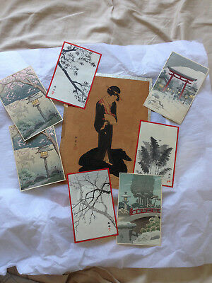 Collection of 9 Vintage Japanese antique art prints- 1900's - 1930's/ 1940s?