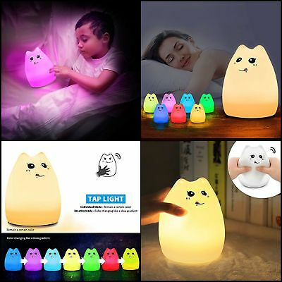 GIFT LED Children Night Light Baby Nursery Lamp Cute Cat Bedroom Touch Relaxing