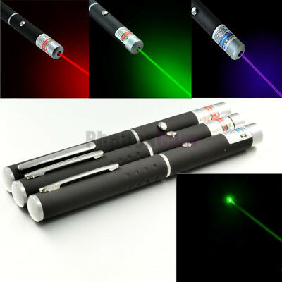 3PCS Green + Blue Violet + Red Light Beam Powerful 5MW Laser Pointer Pen  New