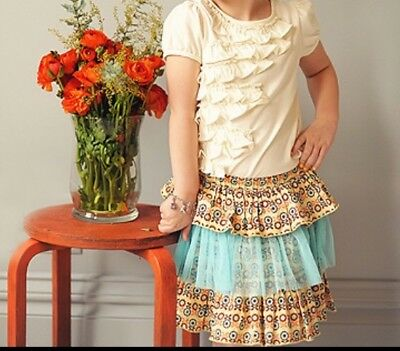 Taylor Joelle Designs Girl's Tiered Tutu Skirt Yellow & Blue Floral Size 7 NWOT