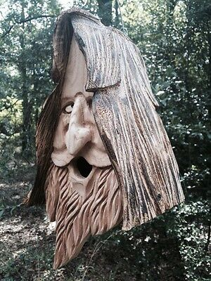 Wood Spirit rustic Hand Carved Cedar Bird House Birdhouse Happy-With Hair