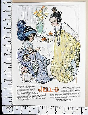 1920 JELL-O gelatin Vtg Print Ad great color art by artist Rose O'Neill 2219
