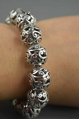 Collectable Handwork Decor Old Miao Silver Carve Flower Bead Auspicious Bracelet