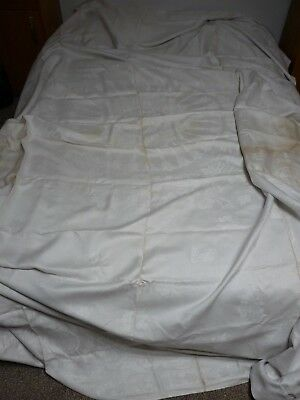 VERY Large Vintage/Antique White Damask Tablecloth
