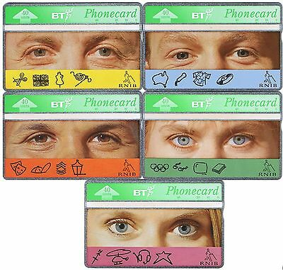 BT 1993 BTC097-101 R.N.I.B. Eyes set of 5 mint proof set with no control numbers