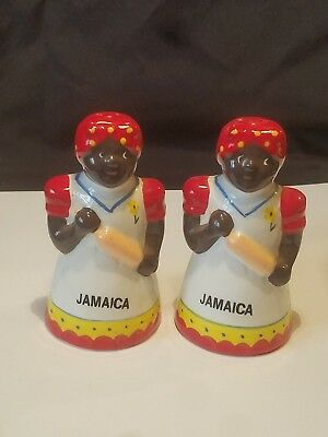 Vintage Porcelain Jamaican Lady Salt & Pepper Shakers