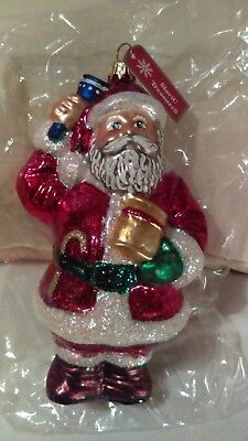 Christmas ornament glass santa holding blue bell Slavic Treasures made in poland