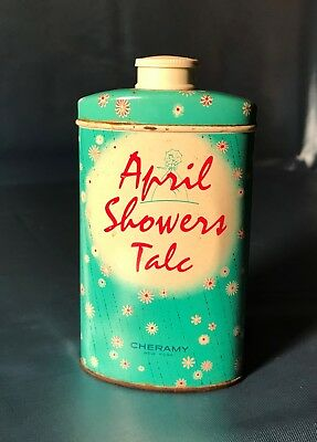 Vintage Mid Century Tin Advertising Talc Powder April Showers Cheramy.