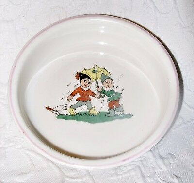 """Antique Hand Painted Garden Gnome Theme Child's 6"""" Feeding Dish Cereal Bowl EUC"""