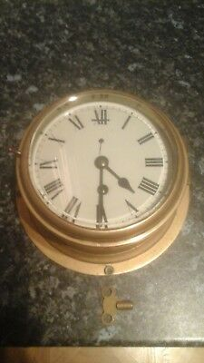 Ships Bulkhead Clock 8 Day Brass - Working