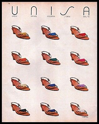 1983 Unisa Womens Colorful Beaded Strap Heel Shoes 1980s Vintage Photo Print Ad