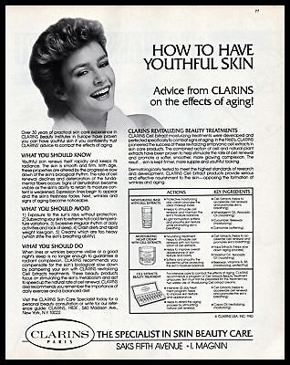 1983 Clarins Paris Youthful Skin Beauty Care Anti-Aging Vintage Photo Print Ad