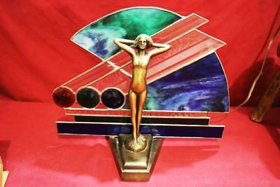 Fantastic Loevsky & Loevsky L & L  Wms Nude Naked Lady Stained Glass Lamp Super