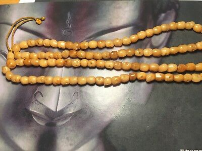 Old antique Chinese Tibetan hand carved skull mala prayer 108 bead necklace