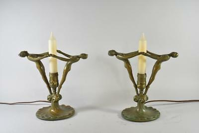 Pair Of Frankart Style Art Deco Mantle Buffet Lamps Figural Women