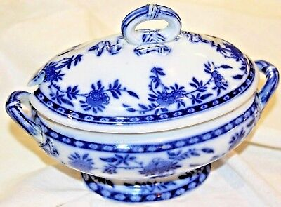 MINTON Delft Porcelain Blue/White Tureen w/Lid, Excellent Condition, England