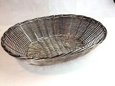 Vintage Quality Christofle Style Woven Silver Plated Bread Basket Unmarked