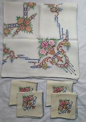 Vintage Hand Made Cross Stitch Roses Linen Square Tablecloth Cloth Napkin Set