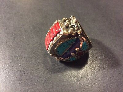 HUGE Old Chinese Indian Tibetan silver ring  turquoise coral lapis lazuli glass