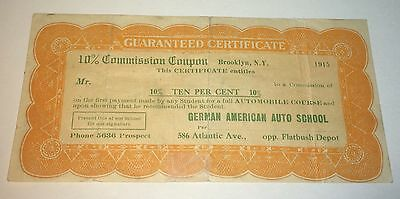 Rare Antique Commission Certificate German American Auto School! New York! 1915!