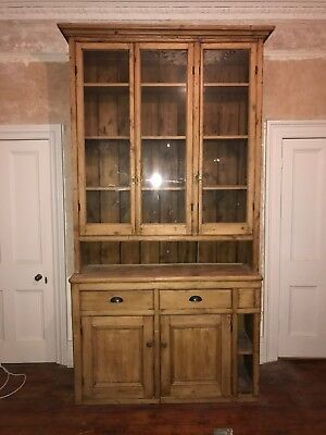 Large Antique Glazed Pine Dresser/Bookcase