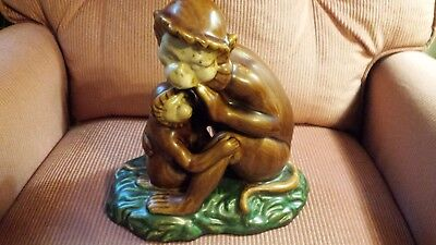 "MONKEY Art Figurine Mother + Baby Ape Chimpanzee Statue Chimp 10"" high heavy 5lb"