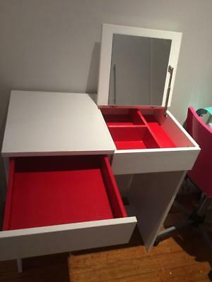 Ikea Brimnes dressing make up table - white, with draws and mirror