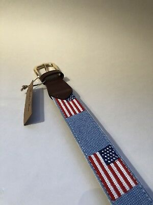FOXCHASE RUN HANDMADE NEEDLEPOINT BELT USA AMERICAN FLAG STITCHED NAVY BLUE 40