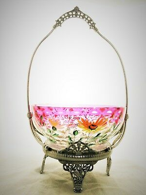 Victorian Brides Basket with Hand Painted Daisies Bowl in a James W Tufts Basket