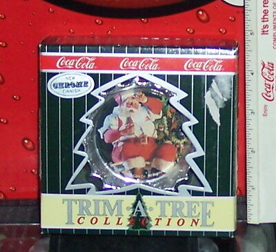 Coca - Cola Trim A Tree Collection Chrome Santa  Ornament Limited Edition
