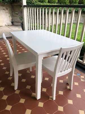 Pottery Barn Kids Children's Art White Table And Two Chairs