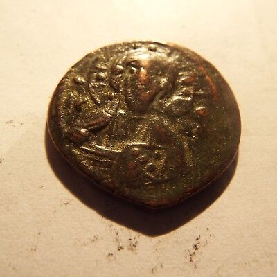 13-4 JESUS CHRIST  Anonymous Ancient  Byzantine Follis Coin CROSS