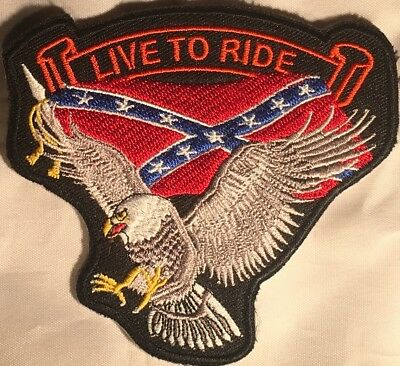 Live To Ride Flag Eagle Embroidered Military Biker Motorcycle Patch Q-18