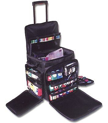Scrapbook Tote On Wheels Case Rolling Travel Storage Craft Bag X Large Caddy New