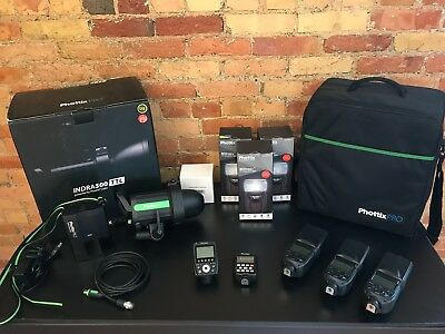 Phottix Indra 500 TTL light w/ 2 Odin triggers, flash tube + 3 brand new Mitros+