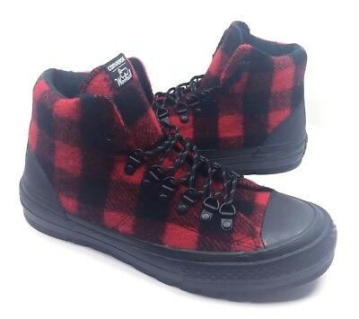 f3c06f7ddbe NEW CONVERSE WOOLRICH Ctas Street Hiker Hi Shoes Boots Black Red Size 8 9.5  -  54.99