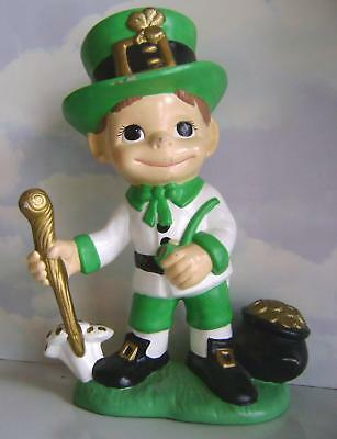 "Vintage~St Patrick's Day~Ceramic~Leprechaun~Pot Of Gold~13"" Large~Atlantic Mold"