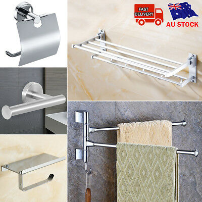 Bathroom Accessory Chrome Square Towel Rack Rail Toilet Paper Holder Hanger Hook
