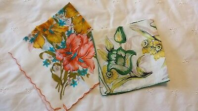 vintage floral handkerchiefs hankies hankys lot of 2