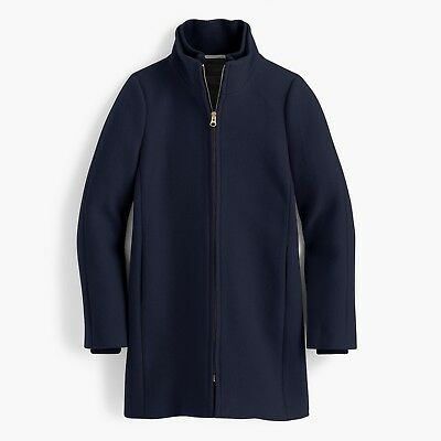 NWT J. Crew Women's Petite STADIUM-CLOTH COCOON COAT P8 NAVY $129