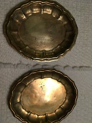 2 Old Brass Colored Oval Shaped Trinket Holders, Decorative Pressed Edges