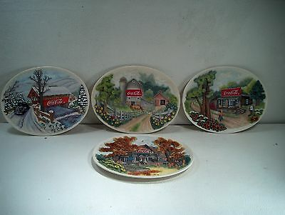 Ray Day Coca Cola Collector Plates - Total Of 4 - Made In 1997