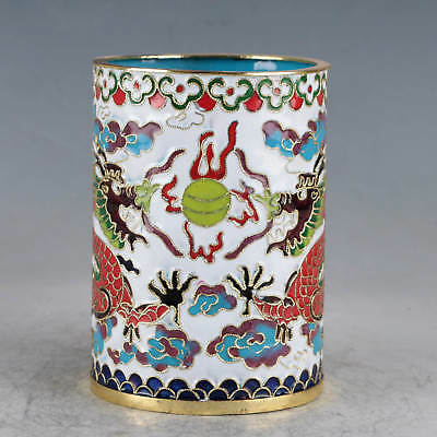 Chinese  Cloisonne Hand-made Two Dragons Brush Pots JTL1012