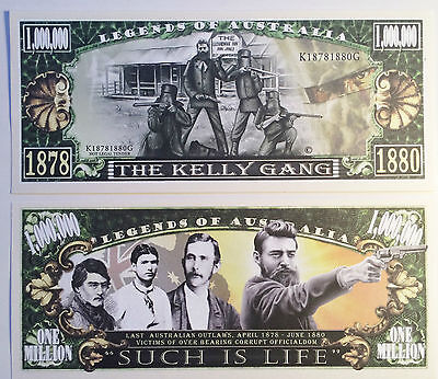 "RARE: ""KELLY GANG"" Ned Kelly $1,000,000 Novelty Note, M/Cave. Buy 5 Get 1 FREE"