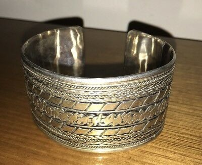 Cuff Bangle - Stamped 925 - 85.5g - 42mm Thick, 75mm Across, 65mm Deep