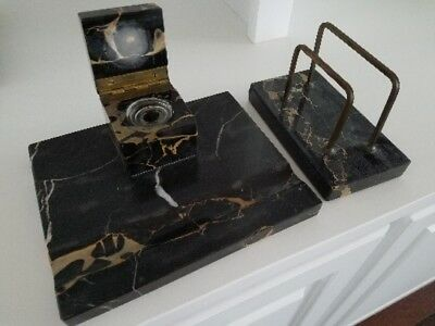 Antique Marble Desk Set Quill Pen Holder Inkwell Ink Blotter And Letter