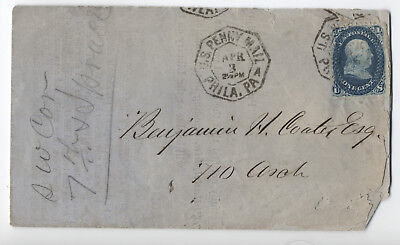 1860s #63 1ct 1861 Philadelphia penny mail library dues notice [2976.5]