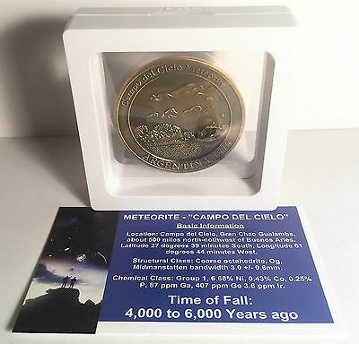"""RARE"" Meteorite Medallion/Coin 45mm with Info/Cert and Display Stand Gold Antiq"