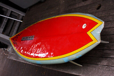 "Early Nirvana Twin Fin with Center Box Fin Rocket Red Fish 5'.9"" Surfboard"